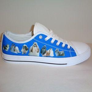 SHIH TZU DOG Size 8 Mens 9 Womens Blue Sneakers